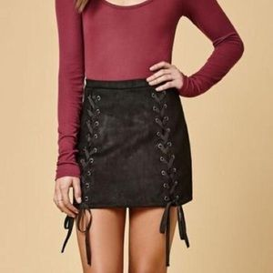 Honey Punch Suede Lace Up Skirt - S